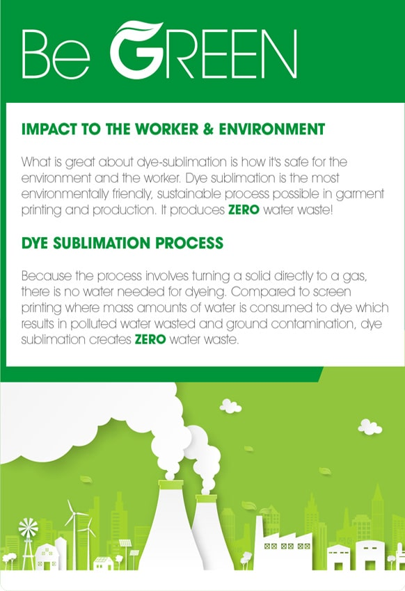 GO GREEN – ZERO WATERLESS PROCESS – DYE SUBLIMATION TECH